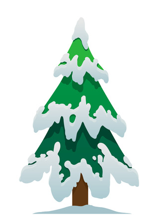 Cartoon Christmas tree in the snow on a white background isolated
