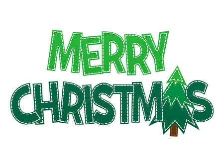 sweet green lettering merry christmas on a white background isolated