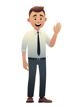 Cartoon character beautiful young man smiling vector isolated