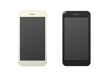 Smart phone cartoon mockup vector on white background isolated Illustration