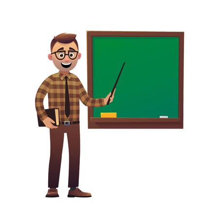 Profesor profesor de pie frente a la pizarra enseñando a los estudiantes en el aula
