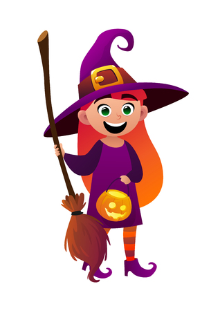 A little girl witch and broom on white background cartoon