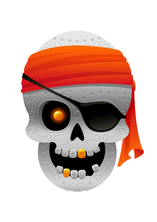 illustration of cartoon pirate skull with bandana vector