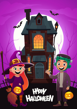 Children in monster costumes witch and frankenstein at background home Tricks Or Treat Happy Halloween banner Illustration