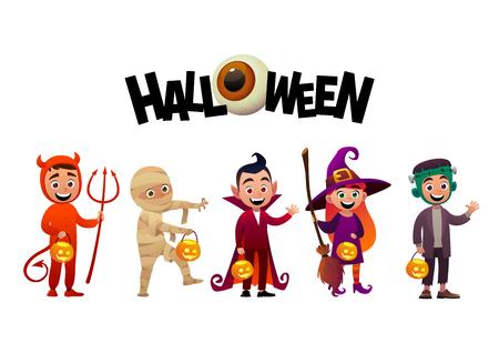 Gruppe von Kindern in Halloween-Kostümen Vampir Mumie Hexe Frankenstein Halloween-Vektor