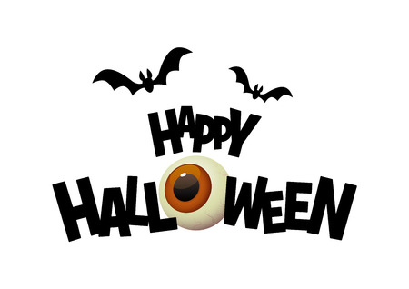 Happy Halloween black text banner with cartoon eye vector