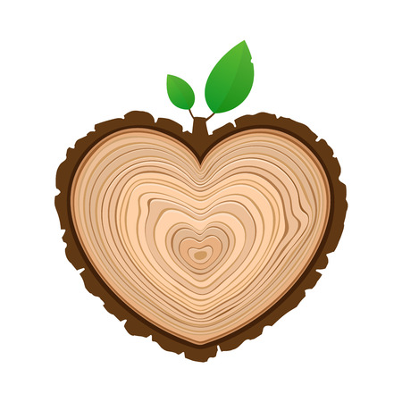 I love wood cutting tree as symbol of heart with foliage timber rings and bark Illustration