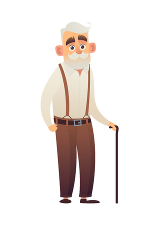 Old man with cane elderly senior on white background isolated