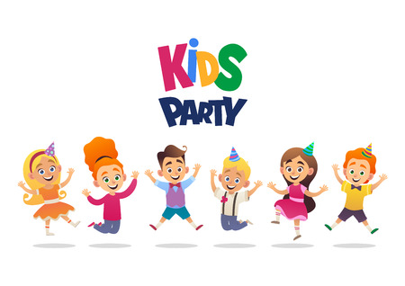 Boys and girls with birthday hats happily jumping with their hands up kids party vector