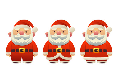 Cute Santa Claus set of cartoon holiday symbols in different clothes vector illustration