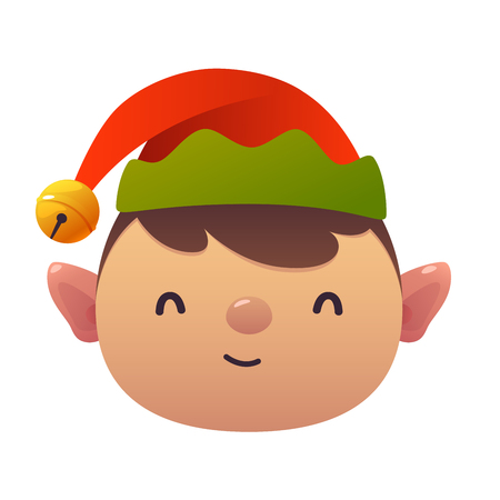Little cute cartoon Elf head vector illustration on white background isolated christmas character