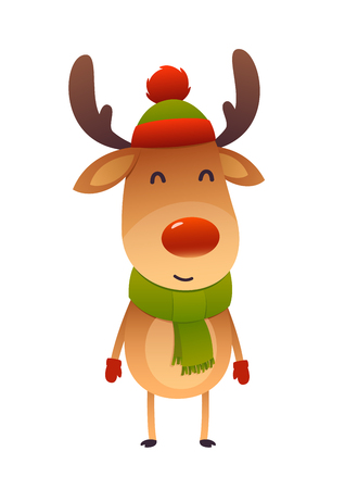 Christmas cute reindeer with red and hat nose cartoon character new jear isolated Ilustracja