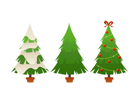 Vector collection of cartoon Christmas tree isolated on white background Ilustracja