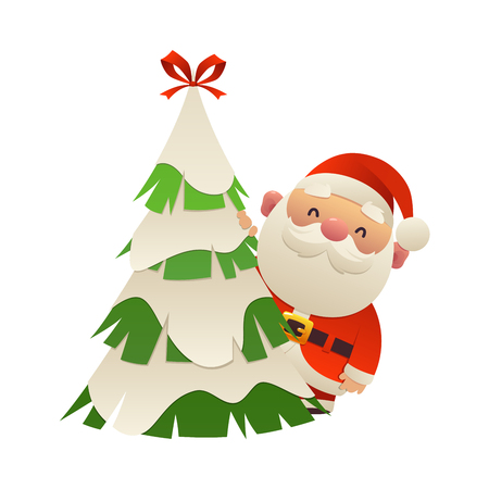 Cute cartoon Santa Claus behind christmas tree vector isolated