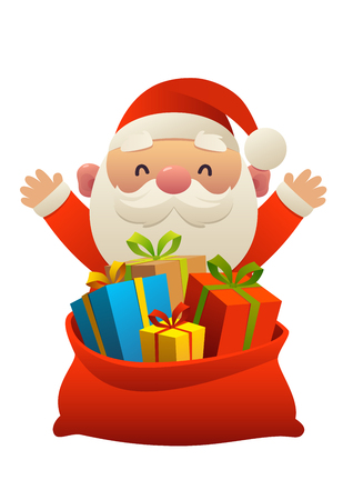 Cute Santa Claus behind toy bag with gifts isolated Illustration