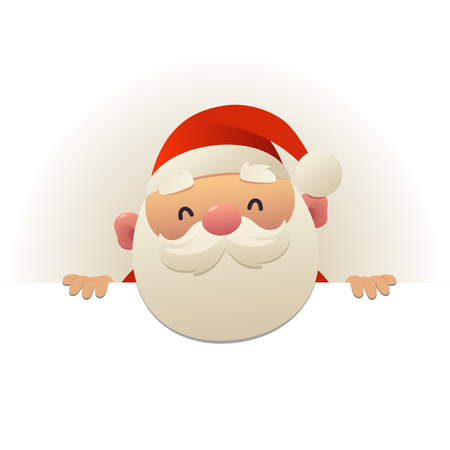 Happy cute funny Santa Claus behind blank signboard cartoon character with white copy space vector
