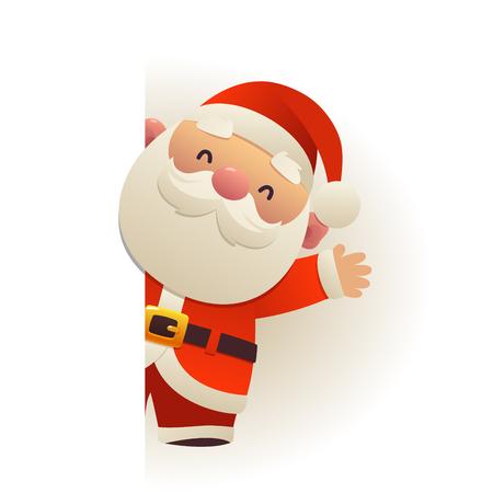 Heureux mignon drôle de père Noël derrière le personnage de dessin animé de panneau vierge avec vecteur d'espace de copie blanche