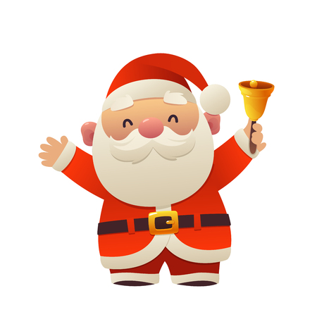 Cartoon Santa Claus with bell for Your Christmas and New Year greeting Design isolated Ilustracja