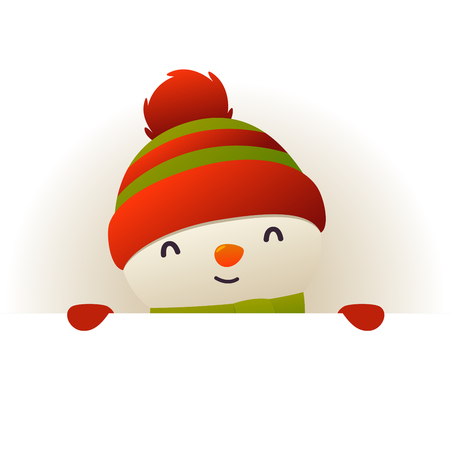 Christmas Cute Snowman standing behind blank signboard advertisement banner with copy space vector Ilustracja