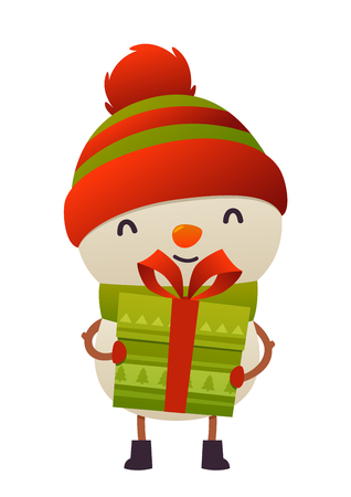 Happy cute cartoon snowman with gift present isolated on white background