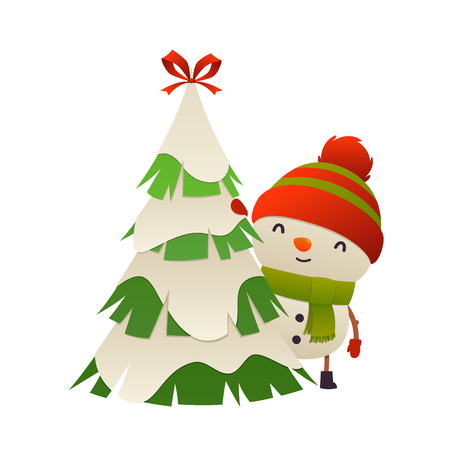 Cute cartoon snowman behind christmas tree vector isolated