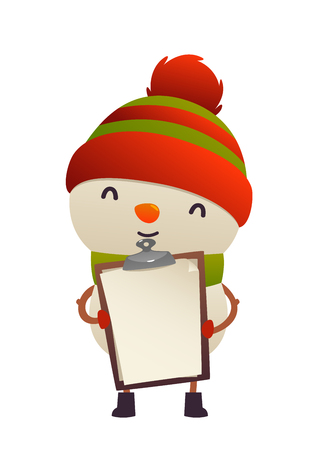 Cute snowman holds in his hands blank isolated vector