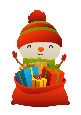 Cute cartoon snowman behind toy bag with gifts isolated