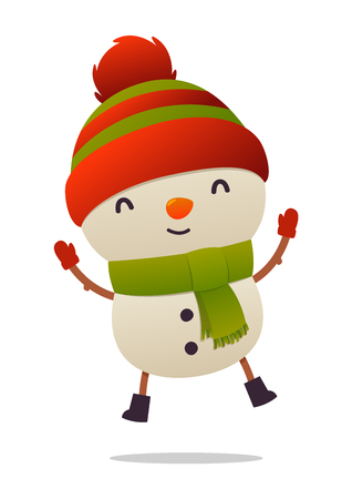 Cheerful cartoon cute snowman jumps isolated on white background vector