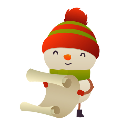 Cute cartoon snowman reads paper letter wish list isolated