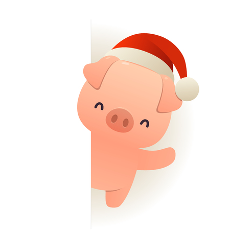 Happy funny pig in Santa hat behind blank signboard cartoon character with white copy space