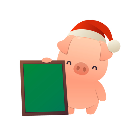 Cartoon cute pig with message board isolated vector Ilustracja