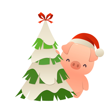 Cute cartoon pig behind christmas tree vector isolated
