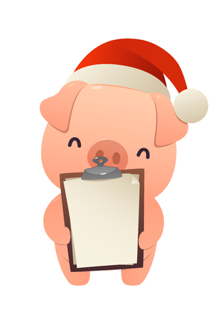 Cute pig holds in his hands blank isolated vector