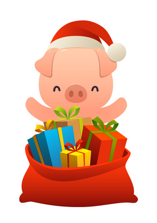 Cute pig behind toy bag with gifts isolated on white background Ilustracja