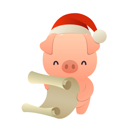 Cute cartoon pig reads paper letter wish list isolated