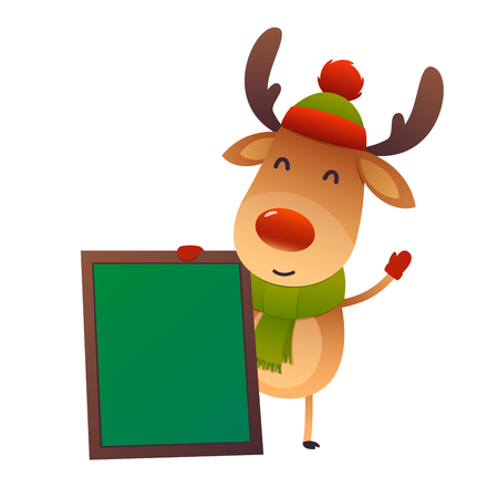 Cartoon cute reindeer with message board isolated on white background