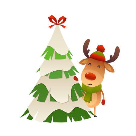 Cute cartoon reindeer behind christmas tree vector isolated Ilustracja
