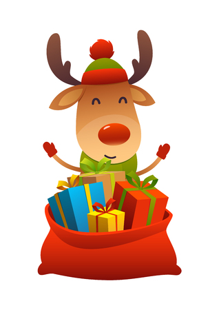 Cute cartoon reindeer behind toy bag with gifts isolated Ilustracja