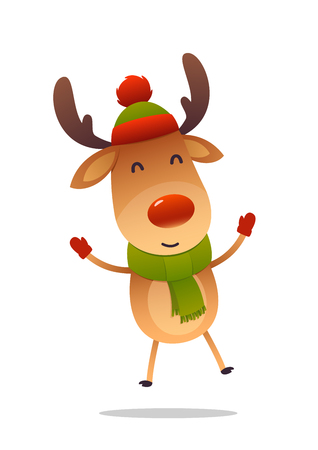 Cheerful cartoon cute reindeer jumps isolated on white background vector