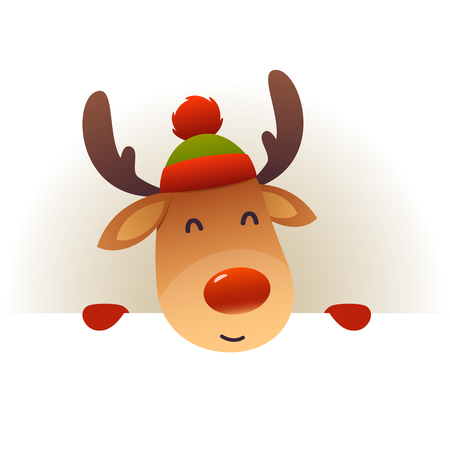 Christmas Cute reindeer standing behind blank signboard advertisement banner with copy space vector Çizim