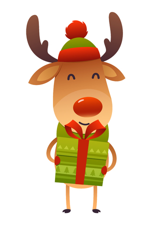 Happy cute cartoon reindeer with gift present isolated on white background