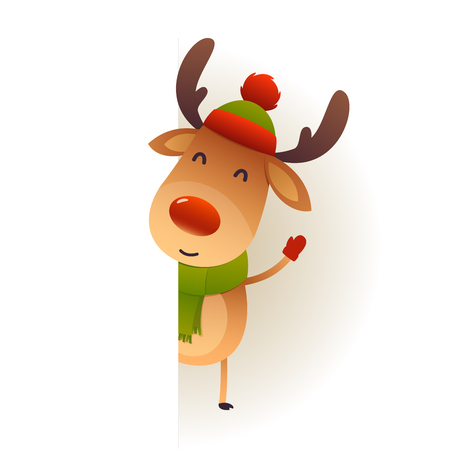 Christmas Cute reindeer standing behind blank signboard advertisement banner with copy space vector Ilustracja