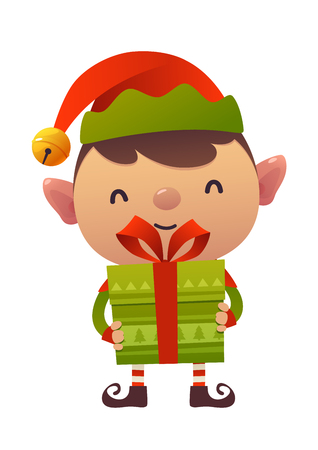 Happy cute cartoon christmas elf with gift present isolated on white background