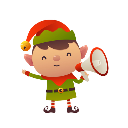 Cheerful cute cartoon christmas elf with megaphone isolated on white background Ilustracja