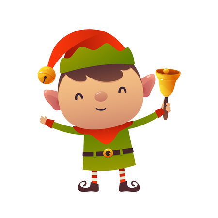 Cute cartoon christmas elf holds bell isolated on white background happy new year greeting card
