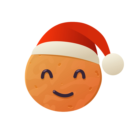 Vector gingerbread cookie in santa claus hat on white background isolated