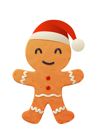 Vector cartoon gingerbread cookie in santa claus hat on white background isolated