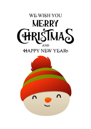 Cheerful cute snowman head vector illustration on white background isolated christmas character