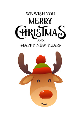Christmas cute reindeer with red nose cartoon character isolated vector
