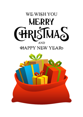 Merry christmas happy new year poster with bag of holiday gifts boxes vector illustration Ilustracja